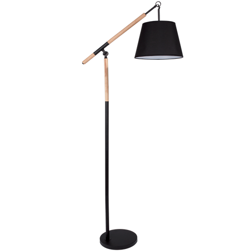 Metal and Wood Standing Lamp with Black Fabric Shade - SL018