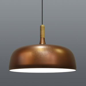 Pendant with aluminium shade and wooden stem. Includes 3m suspension