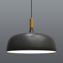 Load image into Gallery viewer, Pendant with aluminium shade and wooden stem. Includes 3m suspension