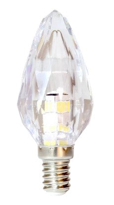 3W: E14 - Crystal Glass Candle LED Lamp - Warm White