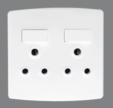 Trinity 4x4 double switched socket outlet