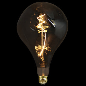 4W:  LED DECOR BULB - Large Pear Smoke Filament Bulb - 240v E27 LED A165