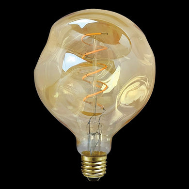 4W: LED DECOR BULB Wonky Amber Filament Bulb - 240v E27 G125