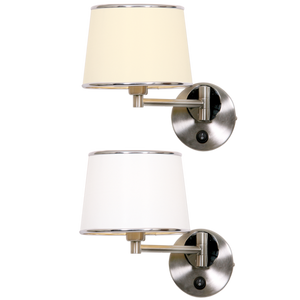 Satin and Polished Chrome Swing Arm Wall Fitting with Switch