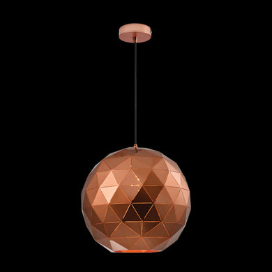 Laser Cut Metal Ball Pendant, Copper - 230v 60W E27 Large