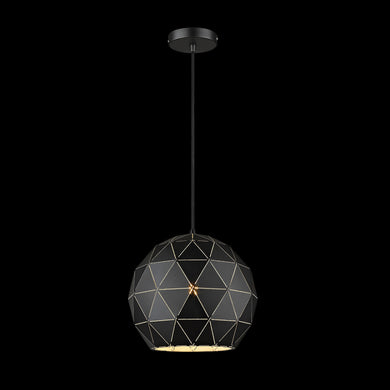 Laser Cut Metal Ball Pendant, Matt Black - 230v 60W E27 Medium