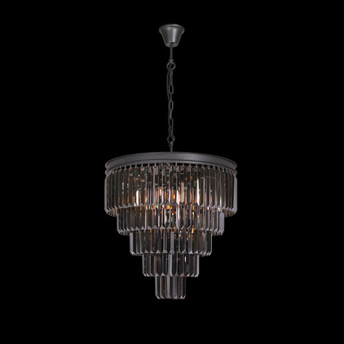 Large Crystal 5 Tier Chandelier, Charcoal Grey