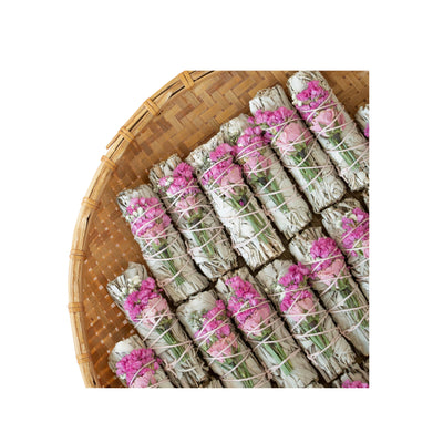 (1) Wildflower Love Rose Sage Smudge Stick