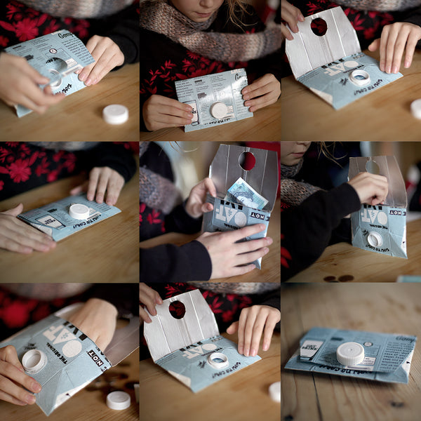 Grid of how to make a purse from a carton