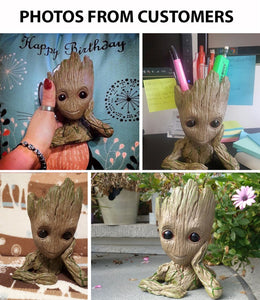 Hand Carved Baby Groot Flowerpot