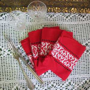 Serviettes de table rouge BISTROT vintage - CRAZY FRENCH VINTAGE