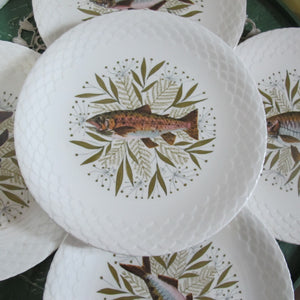 Assiettes plates en porcelaine décor poisson VINTAGE - CRAZY FRENCH VINTAGE