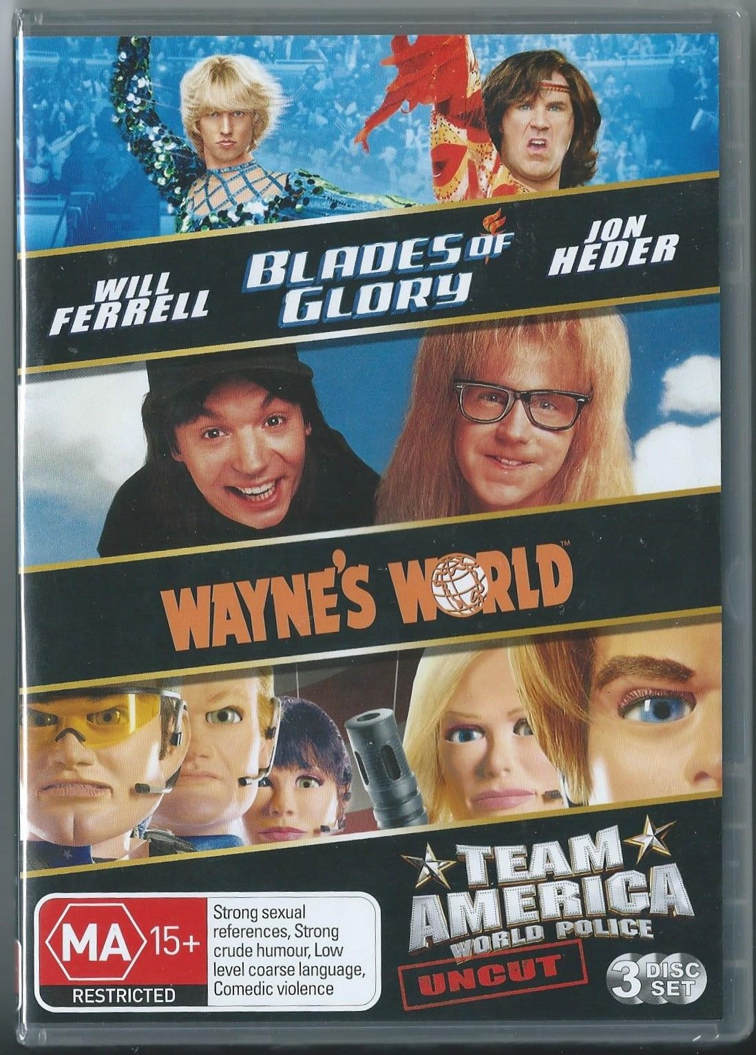 DVD - Blades of Glory / Wayne's World / Team A (Preowned)