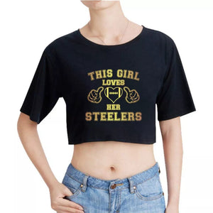 e80944aae84ac Womens Steelers Cropped Tee s – My 1 Up Discount Outlet