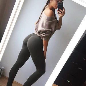 Scrunch Booty Boost  Push Up Leggings -ARMY GREEN