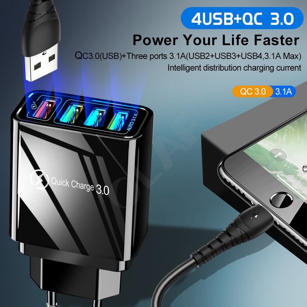 48W Quick Charger 3.0 USB Charger for Samsung or iPhone