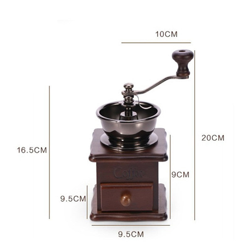 Wooden Manual Coffee Grinder -  Mini Burr Mill With Ceramic Millsto