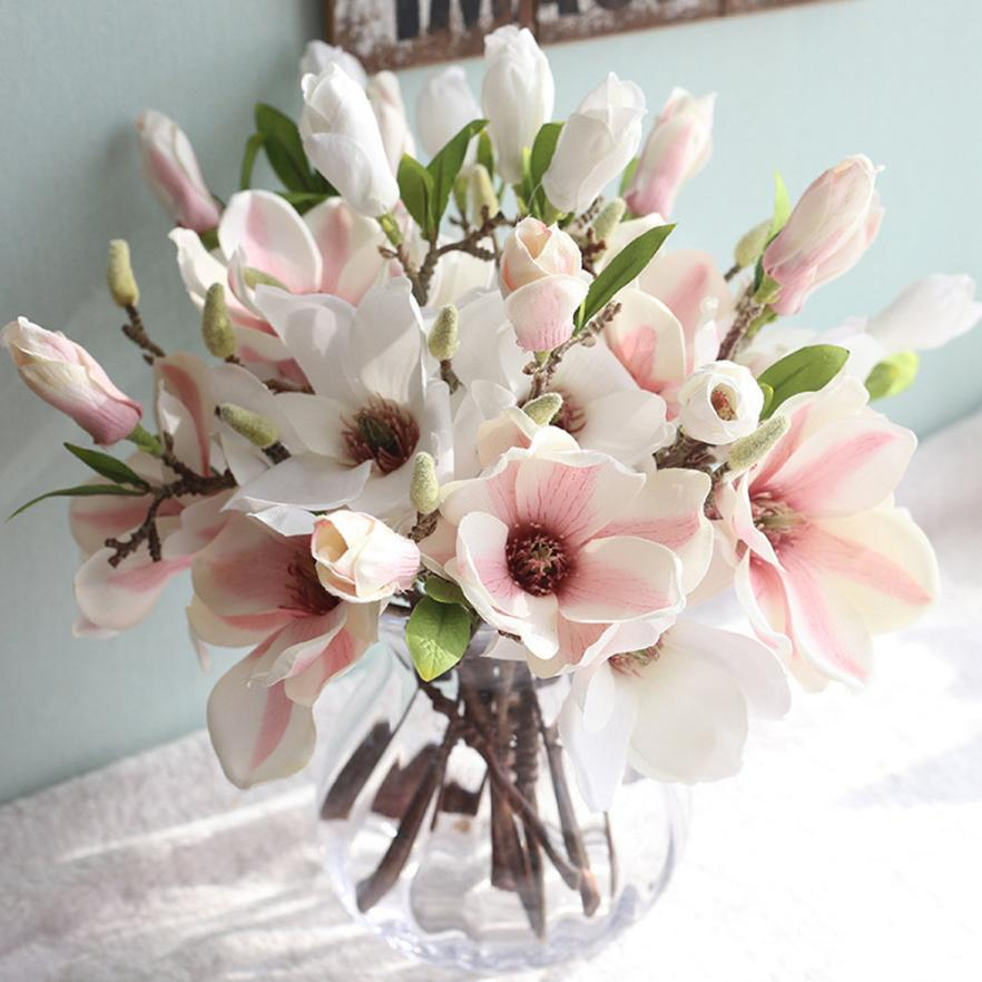 Magnolia Wedding Artificial Flowers for Home Decoration