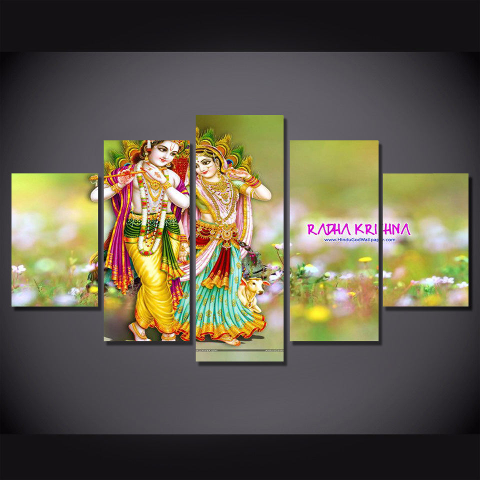 5 Piece Hindu Wall Art Abstract God Poster Prints Canvas Painting ...