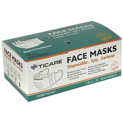 Ticare 3 PLY Disposable Face Mask with Ear Loops and Adjustable Nose Clips (Box of 50) 70-0645-50 - General Medtech