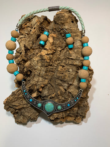 Turquoise cork bead necklace