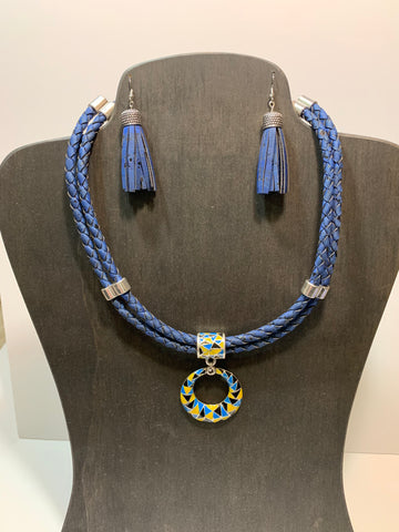 Blue double necklace and tassel earrings