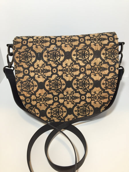 Saddle Bag Cross Body Black and Natural