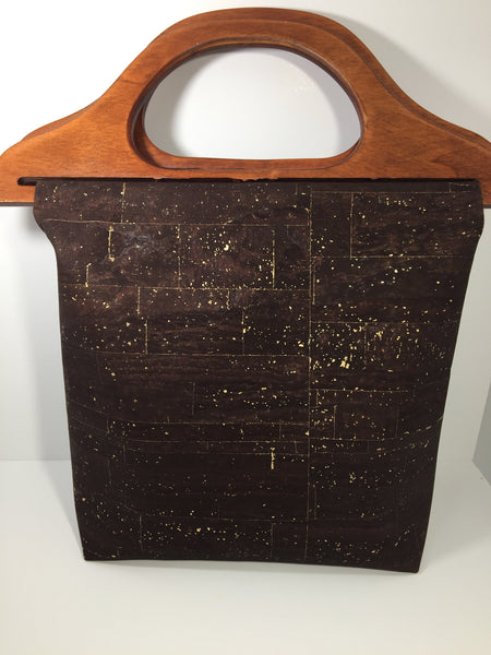 Brown and Gold Wooden Handle Purse