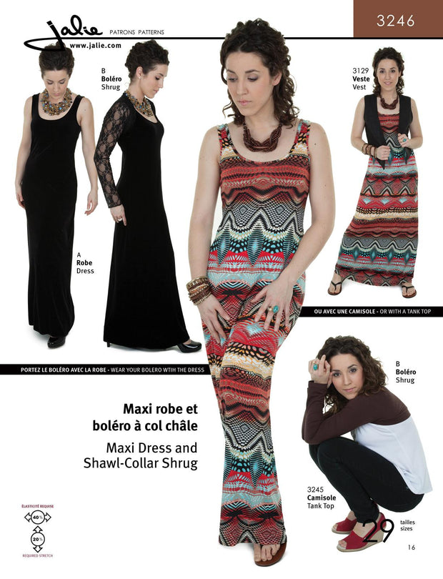 Maxi Dress and Shawl Collar Shrug Sewing Pattern by Jalie