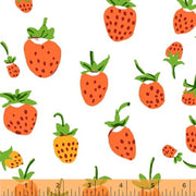 Strawberry Cotton Knit Fabric by Heather Ross, Orange Colorway