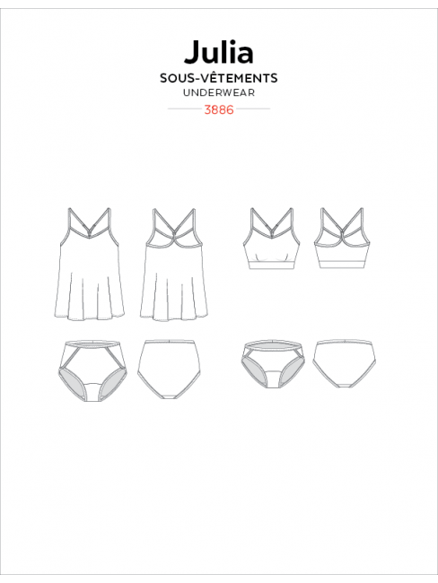 Julia Camisole, Bralette, and Panties Sewing Pattern by Jalie