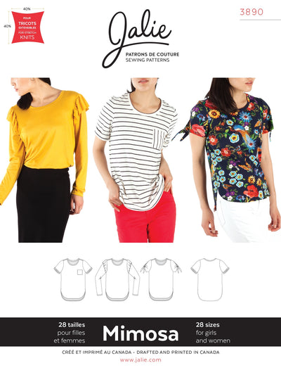 Mimosa Scoopneck T-Shirt Sewing Pattern by Jalie