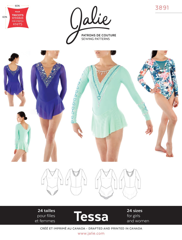 Tessa Long Sleeved Dress and Leotard Sewing Pattern by Jalie