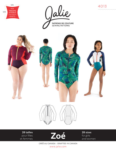 Zoe Long-Sleeve Front-Zip Swimsuit Sewing Pattern by Jalie