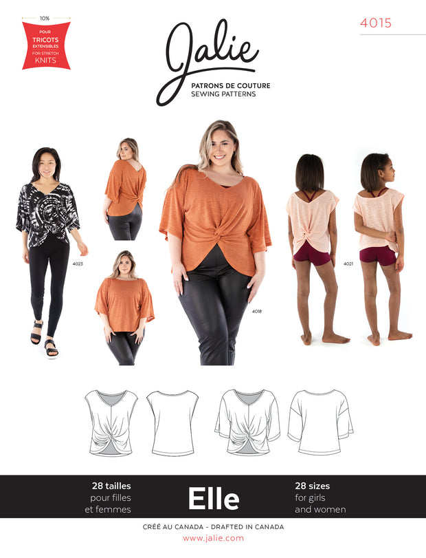 Elle Reversible Top Sewing Pattern by Jalie