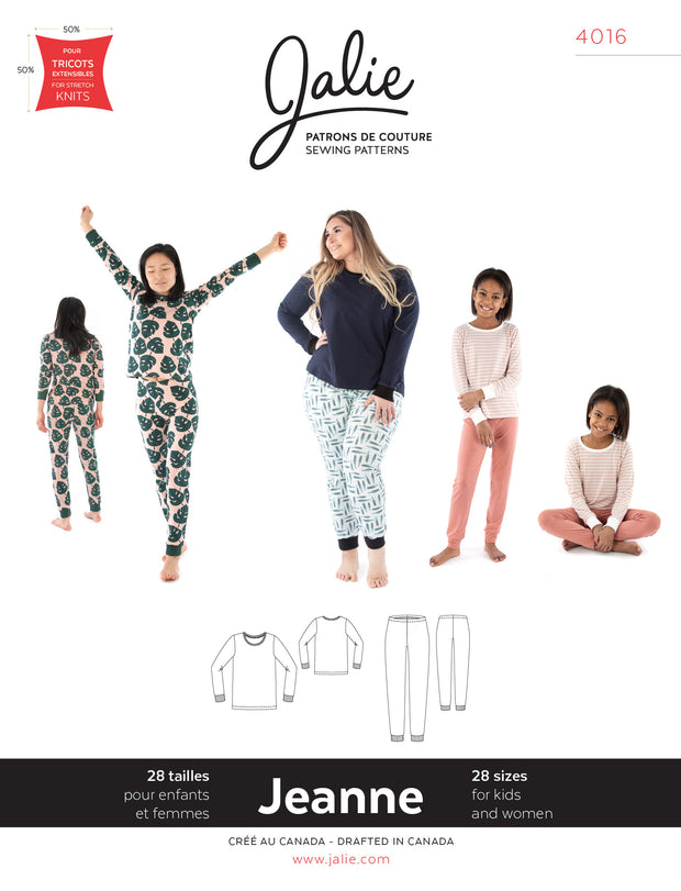 Jeanne Knit PJ Set Sewing Pattern by Jalie