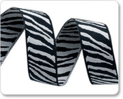 "Black and Grey Zebra Reversible Woven Ribbon 5/8"" Wide"