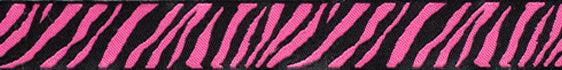 "Black and Hot Pink Zebra Reversible Woven Ribbon 5/8"" Wide"