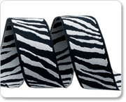 "Black and Grey Zebra Reversible Woven Ribbon 7/8"" Wide"