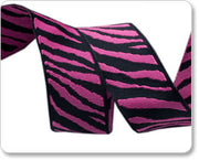 "Black and Hot Pink Zebra Reversible Woven Ribbon 7/8"" Wide"