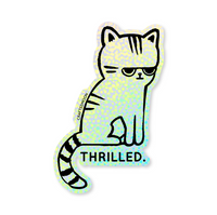 Thrilled Cat Sticker by CraftedMoon