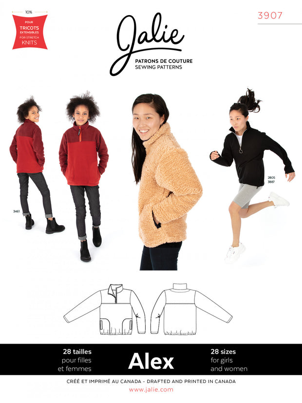 Alex Half-Zip Pullover Sewing Pattern by Jalie