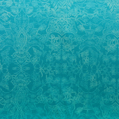 Antiqued Paisley on Mint Poly Spandex Knit Fabric