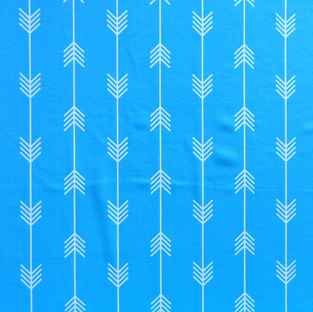 White Arrows on Turquoise Nylon Spandex Swimsuit Fabric