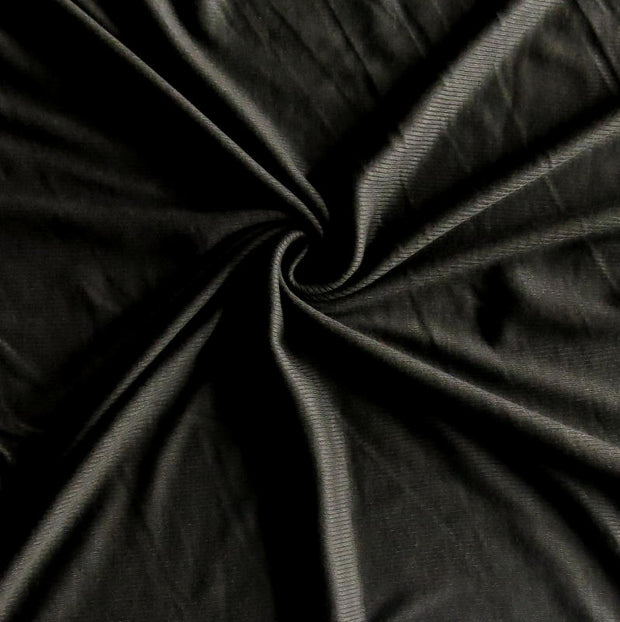 Black 2x1 Bamboo Lycra Rib Knit Fabric