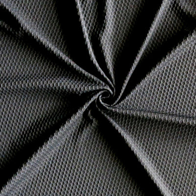 Black Dri-Fit Bubble Jacquard Poly Spandex Mesh Fabric