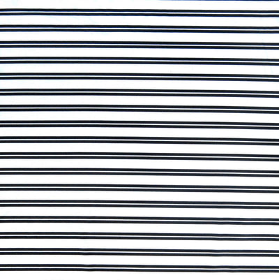 Navy Double Stripe on White Nylon Spandex Swimsuit Fabric