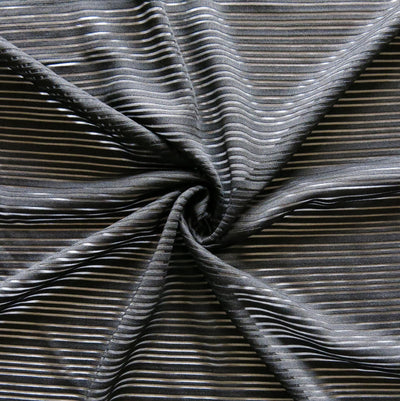 Black Mystic Stripe Poly Mesh Fabric