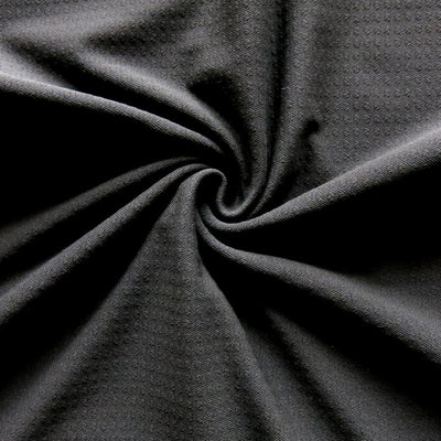 SILVER PRINTED BLACK STRETCH RUFFLED JERSEY FABRIC-SOLD BY THE METER