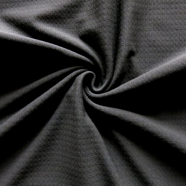 Black Powergrid Micropoly Lycra Jersey Knit Fabric